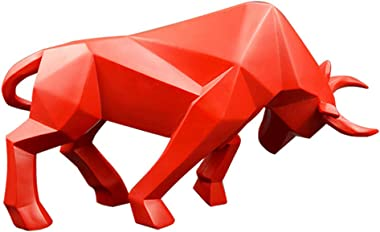 nice--buy Bull Statue Resin Bulls Sculpture Home Decor Stock Market Lucky Statues 14 inches Abstract Figurine Business Gift H