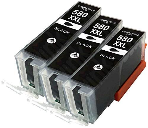 3x PIGMENTO NERO PGI-580PGBK XXL compatibili cartucce d'inchiostro per CANON Pixma TR7550 TR8550 TS6150 TS6151 TS8150 TS8151 TS8152 TS9150 TS9155