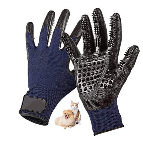 Nifogo Handschuhe Haustier Pflegen Massage - Fellpflege Handschuhe für Katzen, Hunde & Pferde - Lang & kurz Fell - Sanfte Bürste - Deshedding und Baden (1 Paar, Blau)