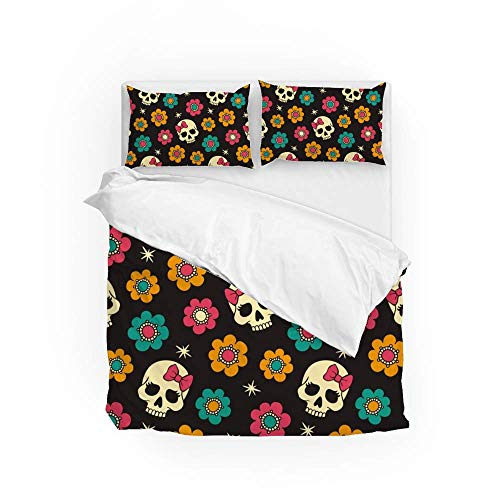 161 Soft Quilt Bedding Set Flowers And Skulls Duvet Cover with 2 Pillowcases Set 3 Pieces 230 x 220 CM, King