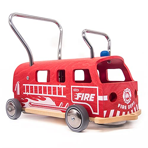 3-i-1 Lära-gå-vagn + Åkleksak Balòss Brandbil i trä, tillverkad i Italien
