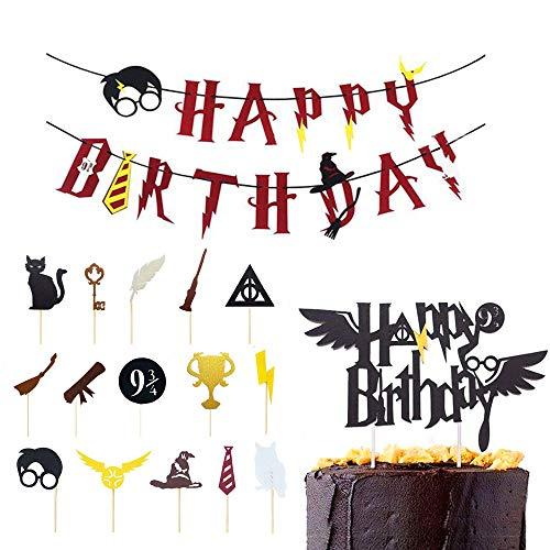 Feliz Cumpleaños Banderas,Suministros de Fiesta de Feliz Cumpleaños,Decoración de Pastel de Mago,Decoración de Pastel de Harry Potter,para Fiestas de Cumpleaños, Celebraciones de Magos