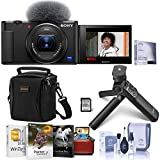 Sony ZV-1 Compact 4K HD Digital Camera, Black Bundle with ACCVC1 Vlogger Accessory Kit, Mac Software Pack, Shoulder Bag, Screen Protector, Cleaning Kit