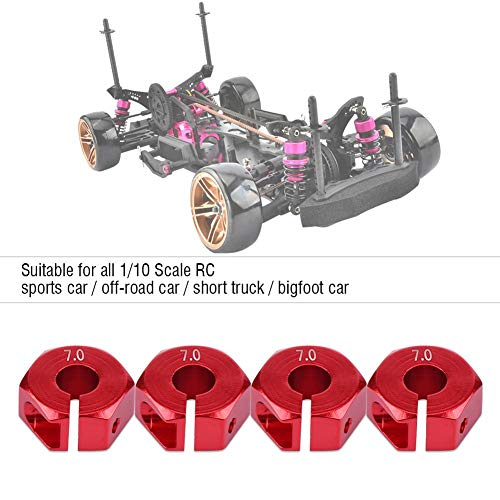 Dilwe Rad-Sechskant-Adapter, 12mm Universal-Rad-Sechskant-Adapter für HSP Sakura 1/10 RC Auto(7 mm / 0,28 Zoll- Rot)