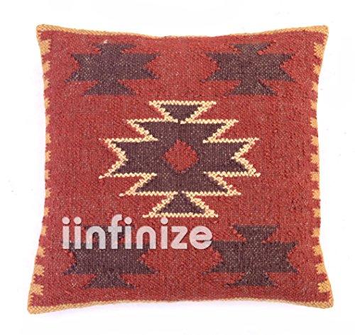iinfinize Funda de cojín cuadrada de 45,7 cm, hecha a mano, funda de cojín de yute, hecha a mano, funda de almohada tradicional Kilim
