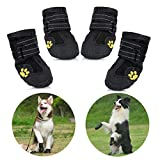 Protective Dog Boots, Set of 4 Waterproof Non-Slip Dog Shoes with Wear-resistant
