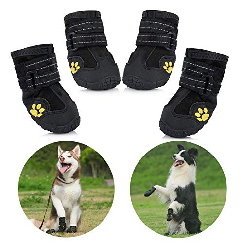 Petacc wasserdichte Hundeschuhe, 4 Pcs Hundeschuhe Pfotenschutz, wasserdicht mit Anti-rutsch Sole passend für mittlere und große Hunde - schwarz (2#)