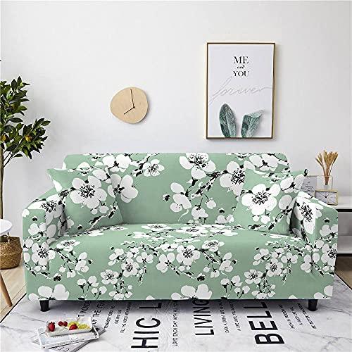 Funda de sofá, Universal Funda Elástica para Sofá de Poliéster y Spandex Funda de sofá,Funda Protectora de Poliéster Suave sofáÁrbol de Flores Verdes,4,sellador 235,300cm