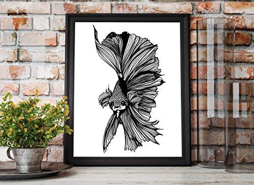 Grumpy Fish - Betta Fish Inspired Ink Drawing - Art Print