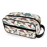 QMIN - Neceser portátil con diseño de dinosaurio y animales, bolsa de viaje multifunción, bolsa de maquillaje, bolsa de almacenamiento para niños, niñas, mujeres, hombres