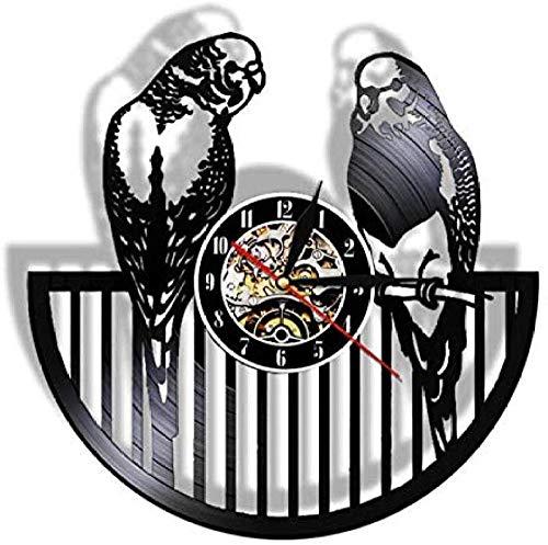Reloj de Pared de Vinilo Reloj de Pared con Registro de Vinilo Reloj de Pared de Cuarzo silencioso de Animal Moderno Reloj de Pared de Loro pájaro Guardería Niños Decoración de habitación de Pared