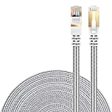 Cat 7 Ethernet Cable, Danyee Nylon Braided 26ft CAT7 High Speed Professional Gold Plated Plug STP Wires CAT 7 RJ45 Ethernet Cable (White 26ft)