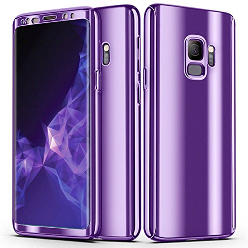 FastSun S8 Case, Ultra-Thin Luxury Electroplate 360 Full Body Shockproof Rugged Slim Hard Plating Mirror Smooth Matte + Screen Protector Cover case for Samsung Galaxy S8 (Purple)