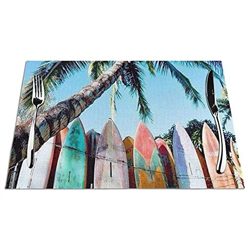 Manteles Individuales Alfombrillas de Mesa de PVC Patrón de Tabla de Surf Manteles Individuales Antideslizantes Resistentes al Calor para la Cocina, Comedor, Restaurante, Juego de 6