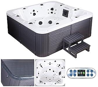 Bañera de hidromasaje para exteriores de Home Deluxe, conescalera y cubierta térmica