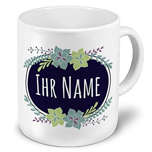 printplanet XXL Riesen-Tasse mit Namen personalisiert - Motiv Flowers - individuell gestalten - Namenstasse, Kaffeebecher, Becher, Mug