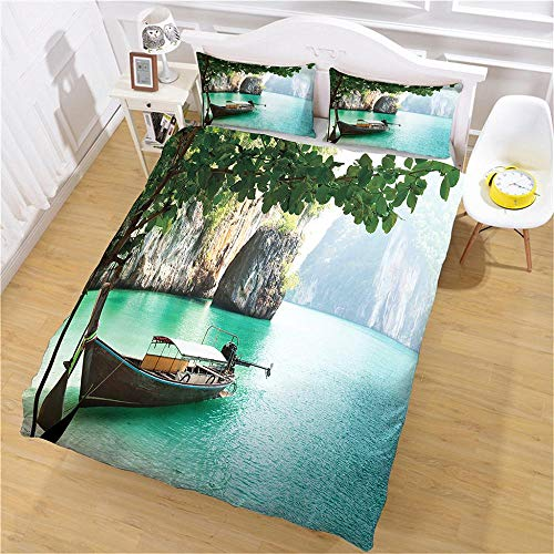 QNZOR Duvet Cover Sets Pillowcases Bedding Single Landscape Print Polyester Breathable 2 pillowcases with Zipper Boys Girls Home Decoration 53.15 x 78.74 inch
