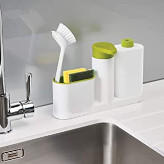 AKDSteel Kitchen Washing Sponge Storage Shelf Bathroom Sink Detergent Soap Dispenser Green for Home Use