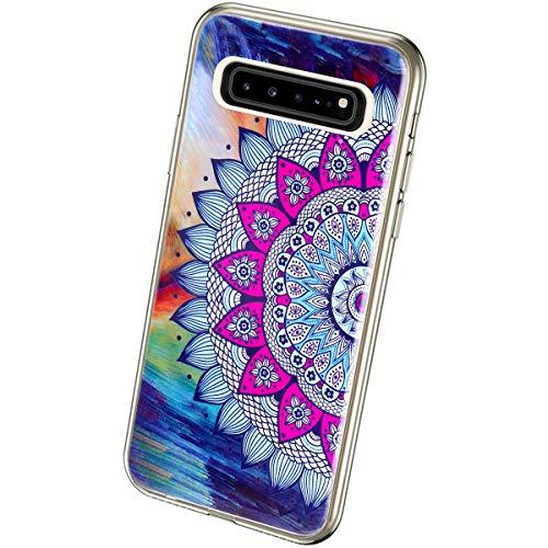 QPOLLY Kompatibel mit Samsung Galaxy S10 5G Hülle TPU Silikon Leuchtend Bunt bemalt Muster Luminous Handyhülle Ultra Dünn Weich TPU Schutzhülle Handy Tasche Case für Galaxy S10 5G,Sonnenblume