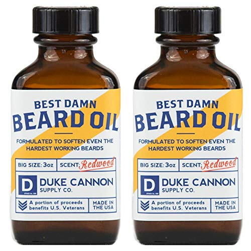Duke Cannon Supply Co. Best Beard Oil, 3oz - Redwood Scent (2 Pack) / Made with Natural and Organic Ingredients