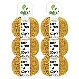 HANSA-FARM 100% Lana de Alpaca en más de 50 Colores (no Pica) - Set de 300g (6X 50g) - Suave Hilo Baby de Alpaca para Punto y Ganchillo en 6 grosores Amarilla Mostaza (Heather)