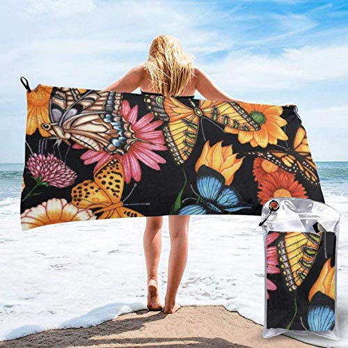 WHALE-FALL 27.5 x 55 pulgadas, diseño de unicornio con flores, secado rápido, toalla de playa de microfibra para camping, yoga, deportes, gimnasio, viajes