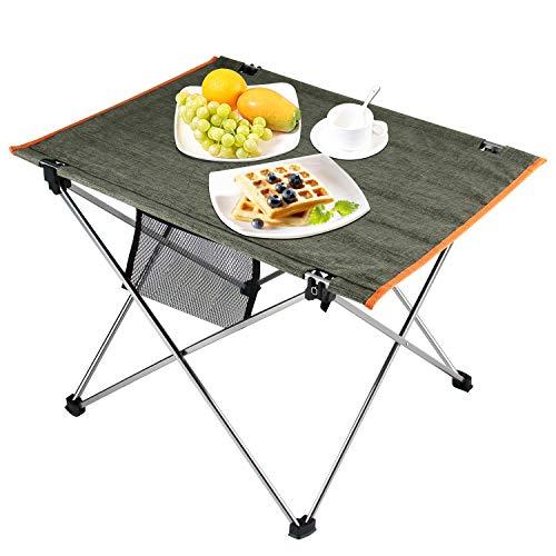 Chamsaler キャンプ テーブル アウトドア 折りたたみテーブル ロールテーブル アルミ製 食事テーブル 室内使用可 ハイキング キャンプ ピクニック 軽量 収納バッグ付