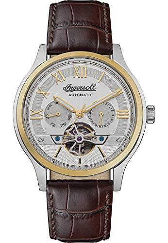 Ingersoll 1892 The Tempest reloj automático para hombre con esfera plateada y correa de cuero marrón I12101