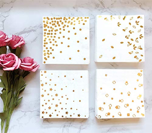 100 Gold Napkins - 4 Assorted Designs l 3-Ply Cocktail Napkins Folded 5 x 5 Inches l Bar Napkins Disposable Party Napkins Paper Napkins Dinner for Wedding Baby Shower Birthday Graduation 2021 2020