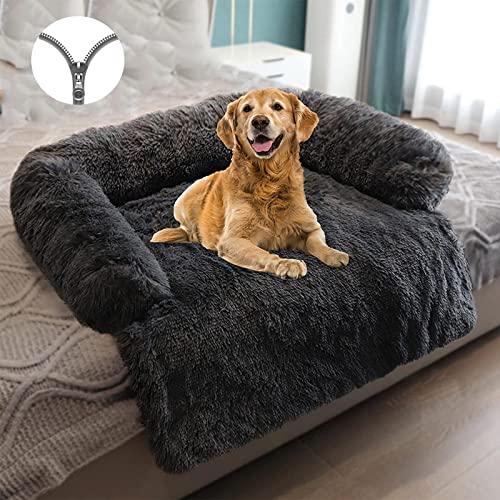 Hundebett Hundedecke Couch für Sofaschutz Hund und Kofferraumschutz Plüsch Orthopädische Hundekissen Decke Waschbar Flauschige Möbelschutz Kissen wasserdicht Haustierbet, M A-Abnehmbar-Dark Gray