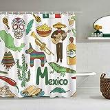 Cortina de Ducha Diversión Mexicana Dibujo Colorido México Pirámide de Chile Nachos Cactus Música Poncho Imagen Forros de baño Impermeables Ganchos incluidos - Ideas Decorativas para el baño