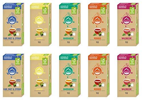 La Natura Lifestyle Tee Selection Box, 100 industriell kompostierbare** Teekapseln, Nespresso* kompatibel, 10 x 10er Pack
