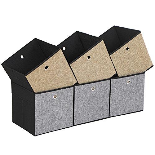 SONGMICS Aufbewahrungsboxen, 30 x 30 x 30 cm, Faltbare Stoffboxen für Kleidung, Faltboxen, 6er Set, Spielzeug-Organizer, Seiten in 3, braun-grau-schwarz ROB30GB