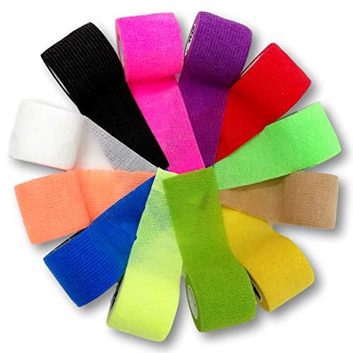 LisaCare Kohäsive Bandage - selbsthaftend, elastisch, 5cm breit für Mensch & Tier - Fixierbinde für Sport Arbeit Reiten mit Farb- & Motivauswahl (Farb-Mix, 12er-Set)
