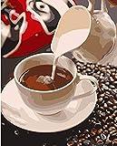 Pintar por Números para Adultos DIY Café con leche con Pinceles y Colores Brillantes Sin Marco 40 x 50 cm