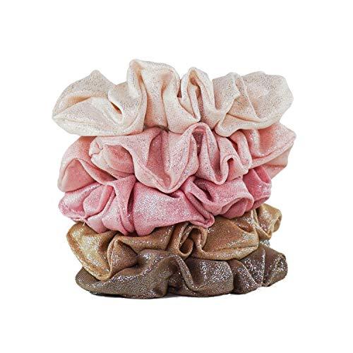 Kitsch Metallic Scrunchies for Hair, Hair Scrunchies for Women and Girls, Set of Fashion Scrunchies, 5 Pack (Blush/Mauve)