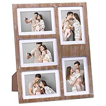 GLM Collage Picture Frames for 4x6 and 5x7 Photos with Mat Photo Frame Collage for Wall Holds Five 4x6 Or 5x7 Photos - Picture Frames Collage with Glass and Rustic Distressed Wood  Brown