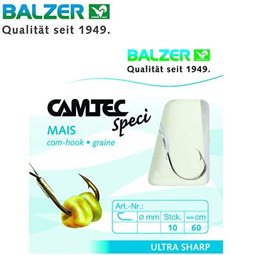 Balzer Camtec Mais Haken 60cm - 10 gebundene Angelhaken zum Friedfischangeln, Haken für Weißfische, Friedfischhaken, Einzelhaken, Hakengröße/Schnurdurchmesser:Gr. 6 / 0.25mm