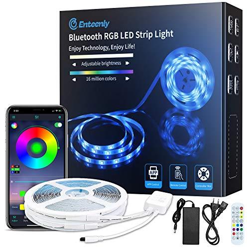 LED Strip, 20m Bluetooth Music Sync RGB Farbwechsel LED Streifen mit App und Fernbedienung, 5050 LEDs und einfache Installation, Stimmungslichter für Zuhause, Fernseher, Küche, Kinderzimmer