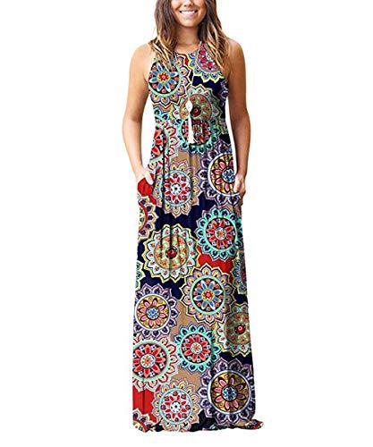 Rojeam Casual Vestidos para Mujer Largo Elegante Vestido para Verano Otoño Cuello Redondo con Bolsillos