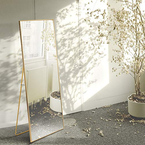 AUFHELLEN Espejo de pie con Marco de Metal, 140 x 40 cm, HD, Grande, Espejo de Cuerpo Entero con Gancho para salón o Vestuario (Dorado)