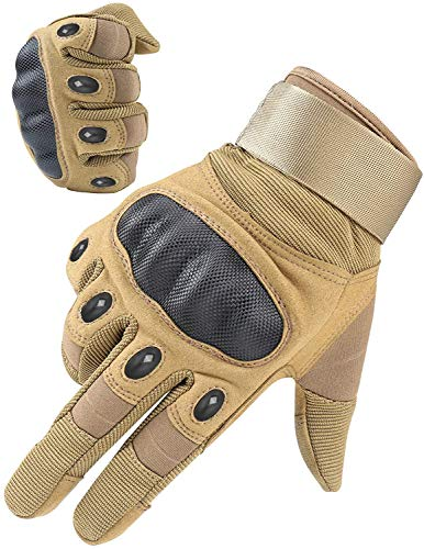 HIKEMAN Tactical Army Military Rubber Hard Knuckle Outdoor Full Finger Gloves for Men Fit for Cycling Motorcycle Hiking Camping Airsoft Paintball (Black, Medium) …