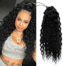 Yepei Curly Human Hair Ponytail Extension 8A Brazilian Natural Curl Wave Black Drawstring Pony Tail Real Hair Pieces For Women Or Girl Clip In Weave Ponytails (20 inch 150g, Natural wave)