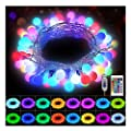 KNONEW Globe String Lights 33ft 100 LED 16 Colors Changing Lights with Remote, USB Powered Fairy Light Indoor Outdoor Decorative Lighting for Wedding Christmas Birthday Party Bedroom Porch Decorations