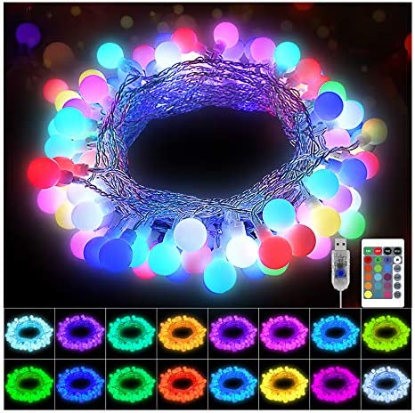 KNONEW 100 LED Globe String Lights 33ft 16 Colors Changing Lights with Remote USB Powered Fairy product image
