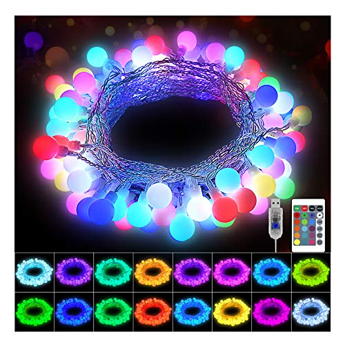 KNONEW 16 Colors Globe String Lights 60 LED 20ft with Remote, USB Powered Multicolor Changing Twinkle Fairy Ball Light for Christmas Wedding Party Girls Bedroom Indoor Outdoor Waterproof Decorations