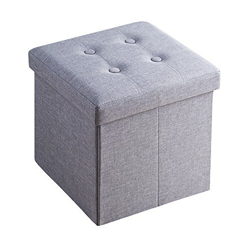 Sable 収納スツール オットマン 耐荷重300kg 折りたたみ式 収納ボックス ストレージチェア 綿麻製 (38cm)