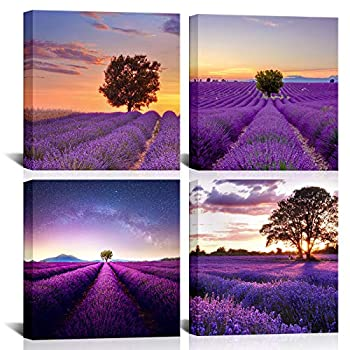 KLVOS Landscape Flower Picture Canvas Wall Art Purple Lavender and Tree Painting Romantic Provence Fields Artwork Sets of 4 Piece for Home Bathroom Bedroom Decoration Stretched Framed 12x12inchx4pcs