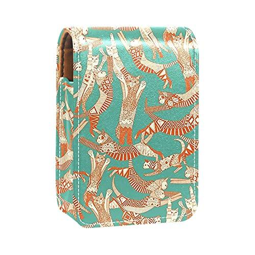 Make-up-Tasche Lippenstift-Etui für Außen Mini-Tasche Reisekosmetiktasche mit Spiegel-Lippenstift-Box Katze Party Jade Orange für Frauen Damen Geschenke