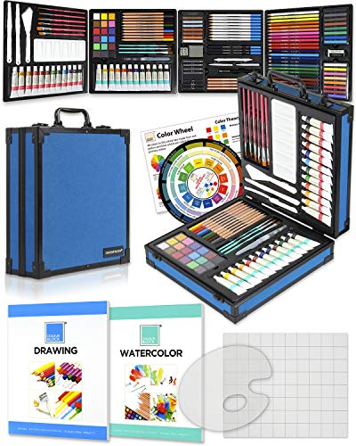 COLOUR BLOCK 151pcs Mixed Media Art supplies, 4 in 1 Professional Module kits I Acrylic Paint Sets I Watercolor Painting Sets I Colored Pencils Kit I Drawing Bundles for adults, kids in Aluminum Case